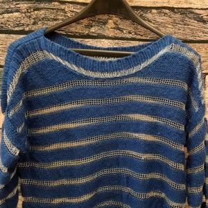 Striped Royal Blue and Silver Ashford Sweater
